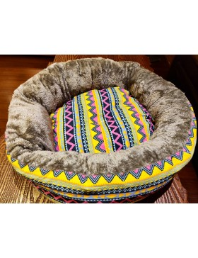 Multicolour   DogBed (Reversable)- DOODLE OVER POODLE