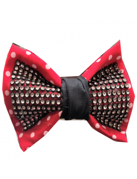 BLACK AND RED POLKA DOT BOW TIE