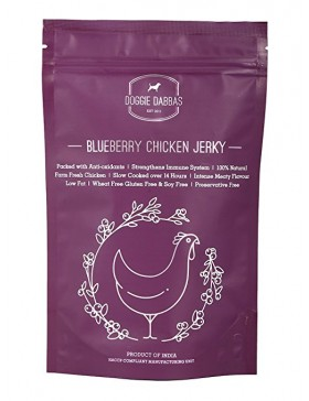 Doggie Dabbas Chicken Jerky Dog Treat, Blueberry Flavour, 85 GMs