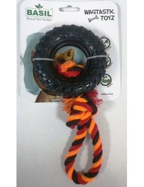 Basil Pull Tyre Ring With Cotton Rope Dog Chew Toy